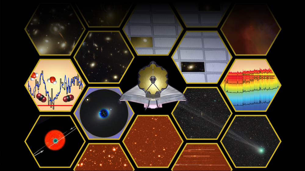Artist's illustration depicting the variety of capabilities that the future James Webb Space Telescope will have. Its most significant task will be the search of alien life in any of the thousands of exoplanet targets. Sources:NASA, ESA, and A. Feild (STScI)