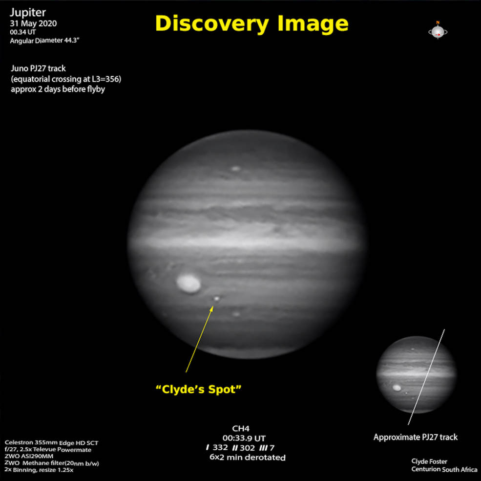 The discovery image taken by Clyde Foster last year. The Trajectory of Juno's flight is shown on the smaller image on the right. Credit: Clyde Foster / ASSA