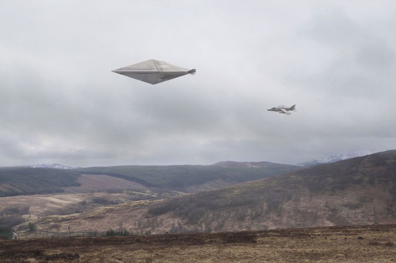 Mock up of the Calvin UFO incident based on the descriptions of the captured UFO. Credit: Mirror