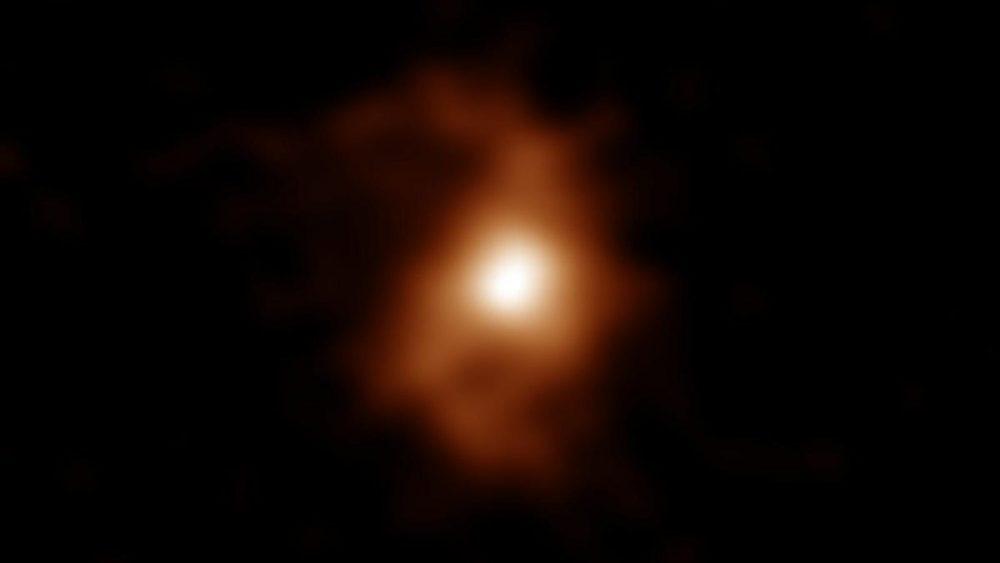 The oldest spiral galaxy ever observed - BRI 1335-0417. Credit: ALMA (ESO / NAOJ / NRAO), T. Tsukui & S. Iguchi