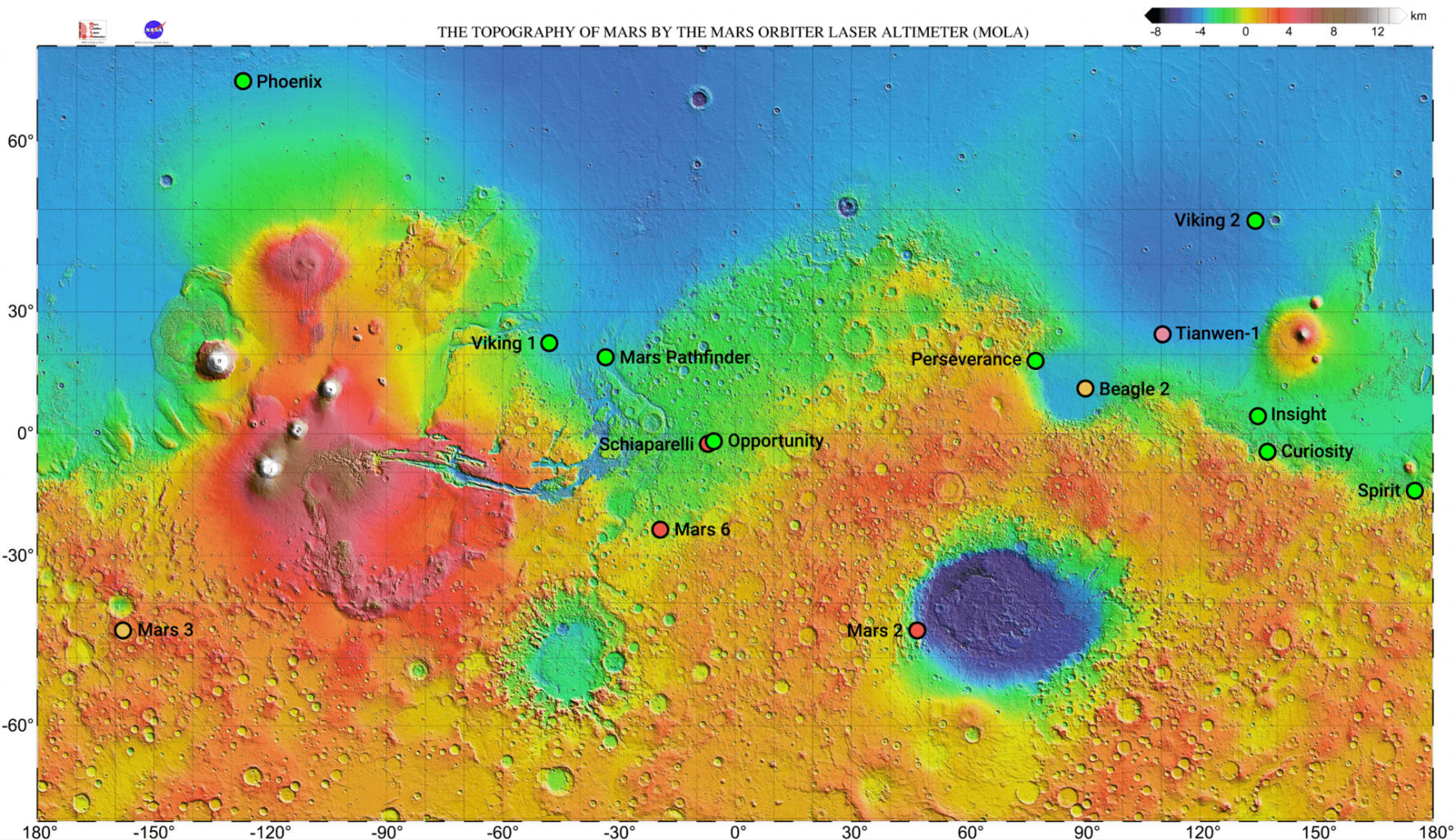 Previous missions to the Red Planet. You can see that China's Mars mission was sent to a location that has already been studied by several NASA missions in the past. Credit: Wikimedia Commons