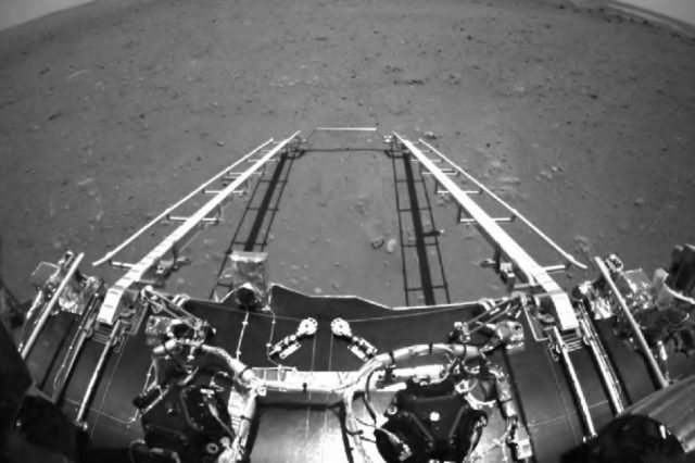 Part of the black and white image of Mars taken by China's Zhurong rover. Credit: CNSA / PEC