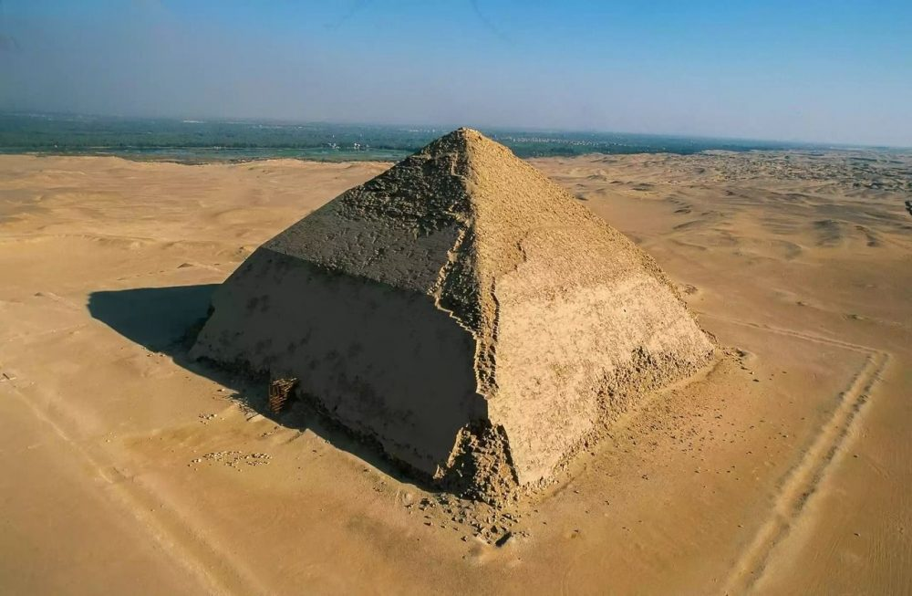 One of the most curious ancient Egyptian megastructures - the Bent Pyramid. Credit: Yann Arthus-Bertrand