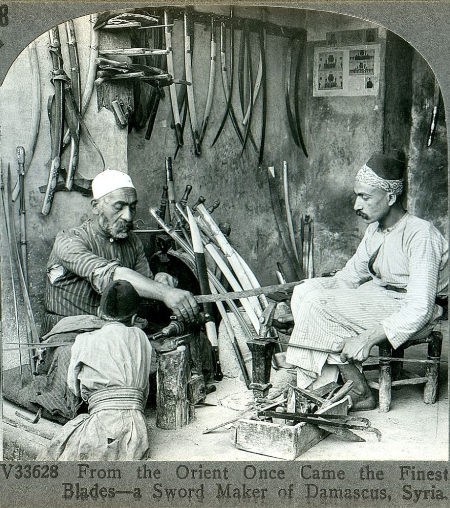 Photograph from 1900 showing a bladesmith from Damascus. Credit: Wikimedia Commons