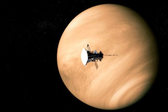 Artist's impression of the Parker Solar Probe during a flyby near Venus. During their last encounter, the probe detected strange radio emissions from Venus that suggest it entered the atmosphere. Credit: The Franklin Institute / NASA