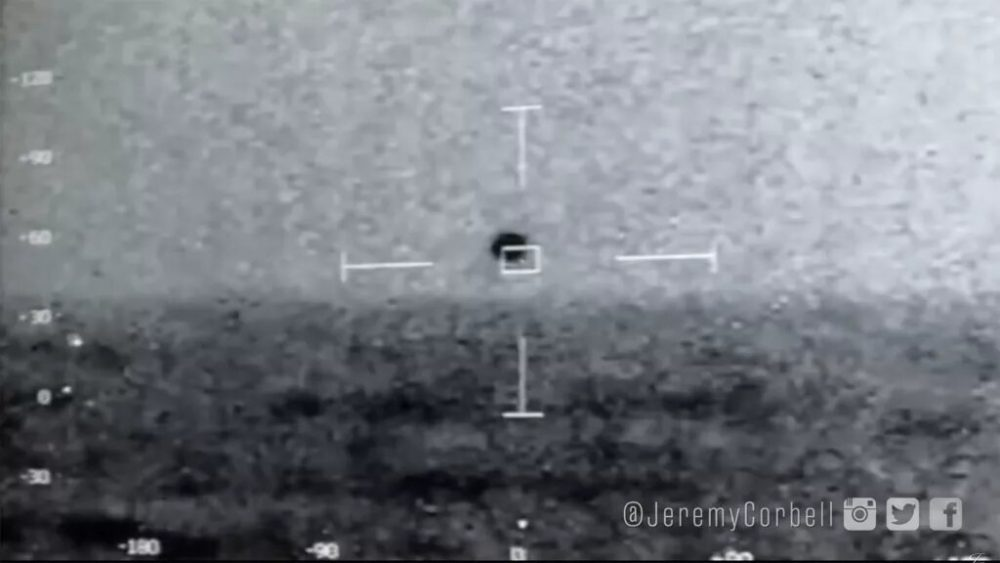 The US Navy captured this footage of a UFO hovering near the USS Omaha in 2019. Credit: US Navy / Jeremy Corbell / YouTube