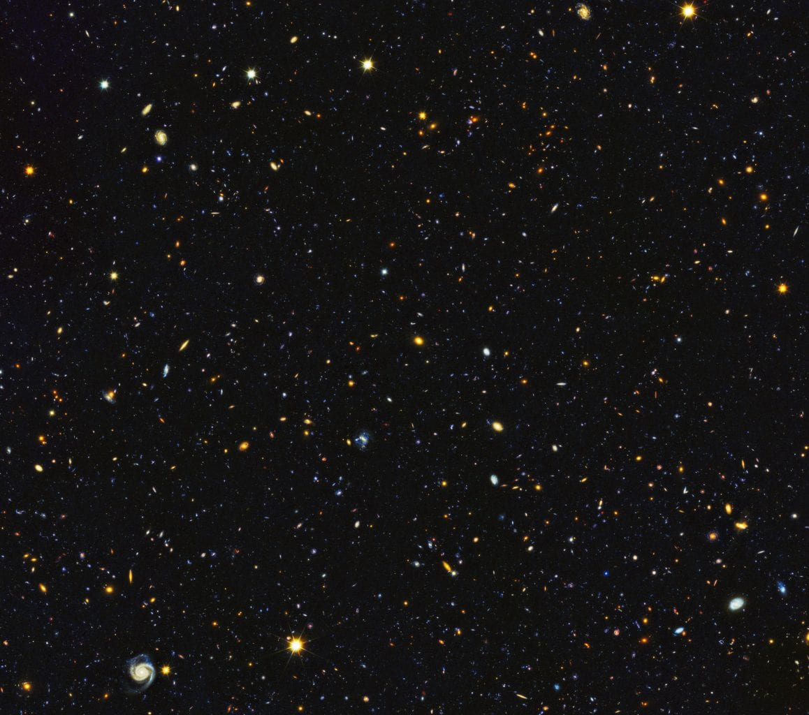 Image from the Hubble Space Telescope containing nearly 15,000 galaxies. If you close up, you can see that most are spiral galaxies. Credit: NASA, ESA, P. Oesch (University of Geneva), and M. Montes (University of New South Wales)