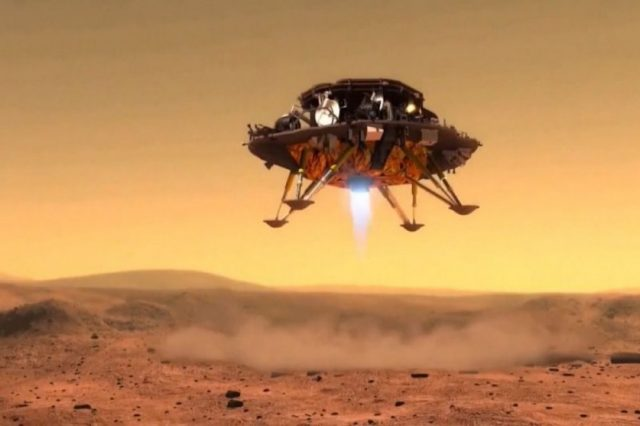 Artist's impression of China's Tianwen-1 landing on Mars. Unfortunately, there has not been any footage released as of this moment. Credit: CCTV/CNSA