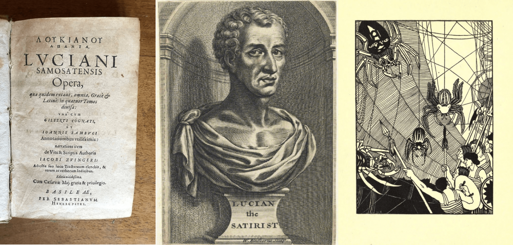 Title page of a 1619 translation of Lucian's works, a speculative portrayal of Lucian of Samosata from the 17th century, and a 1984 illustration of a space battle sceen from one of his works. Credit: Wikimedia Commons / Public Domain