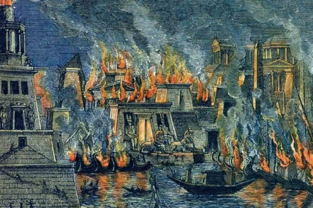 The burning of the Great Library of Alexandria, woodcuts by Hermann Göll, 1876. Credit: Wikimedia Commons
