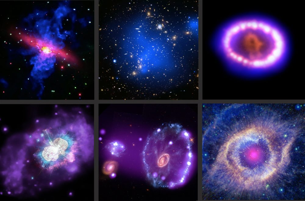 Montage of six composite images made with data from Chandra as well as other observatories. Credit: X-ray: NASA/CXC; Optical: NASA/STScI