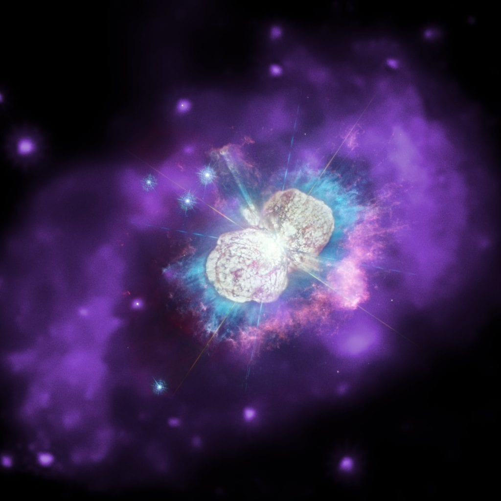 Star system Eta Carinae in the Milky Way, possibly containing the next star in our galaxy to explode into a supernova. This is a composite image with optical and ultraviolet data from Hubble, and X-Rays from Chandra. Credit: X-ray: NASA/CXC; Ultraviolet/Optical: NASA/STScI; Combined Image: NASA/ESA/N. Smith (University of Arizona), J. Morse (BoldlyGo Institute) and A. Pagan