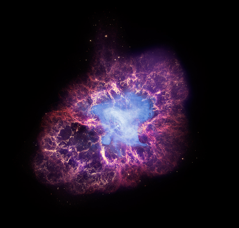 Composite image of the Crab Nebula combining X-Ray data from Chandra and optical and infrared data from other observatories. Credit: X-ray: NASA/CXC/SAO/F.Seward; Optical: NASA/ESA/ASU/J.Hester & A.Loll; Infrared: NASA/JPL-Caltech/Univ. Minn./R.Gehrz