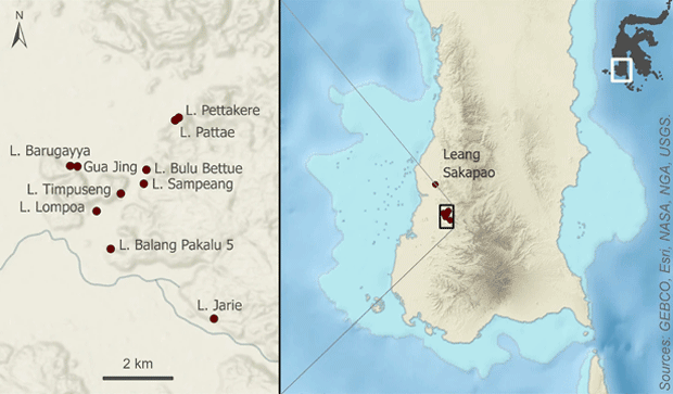 The karst caves with some of the oldest examples of cave art that were studied. Credit: Huntley et al. / Nature, 2021
