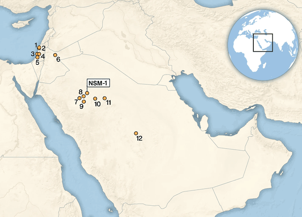 Map of Arabia with key Levantine and Arabian sites, including that of An Nasim (NSM-1). Credit: Scerri et al. / Nature Scientific Report, 2021