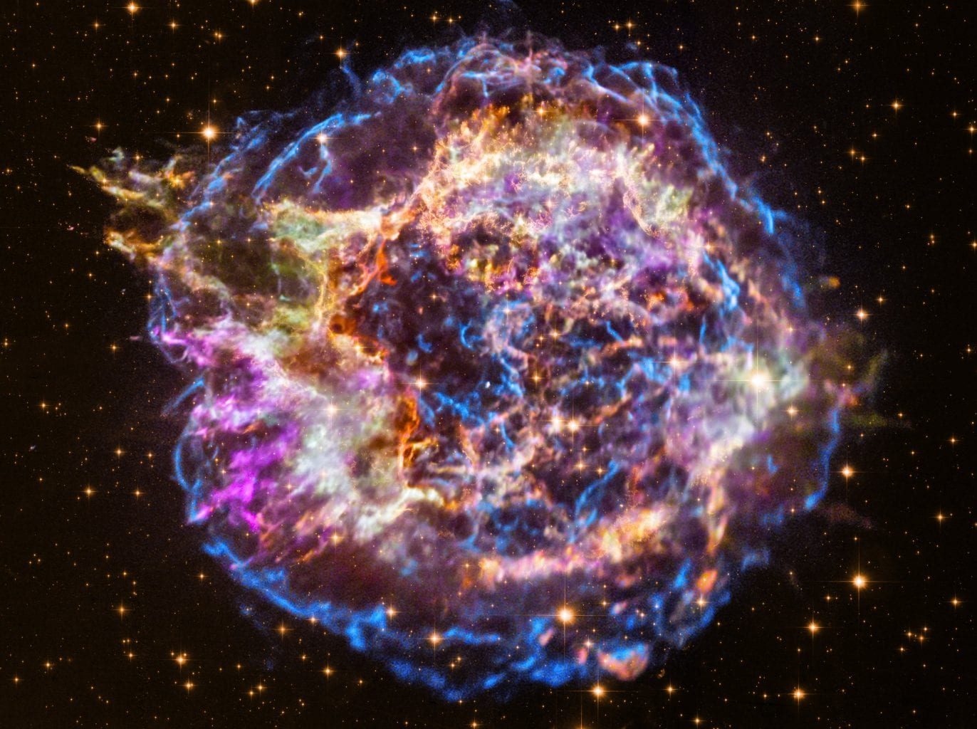 Supernova remnant Cassiopeia A has been studied by Chandra for decades and has provided incredibe data about this object. Credit: X-ray: NASA/CXC/RIKEN/T. Sato et al.; Optical: NASA/STScI
