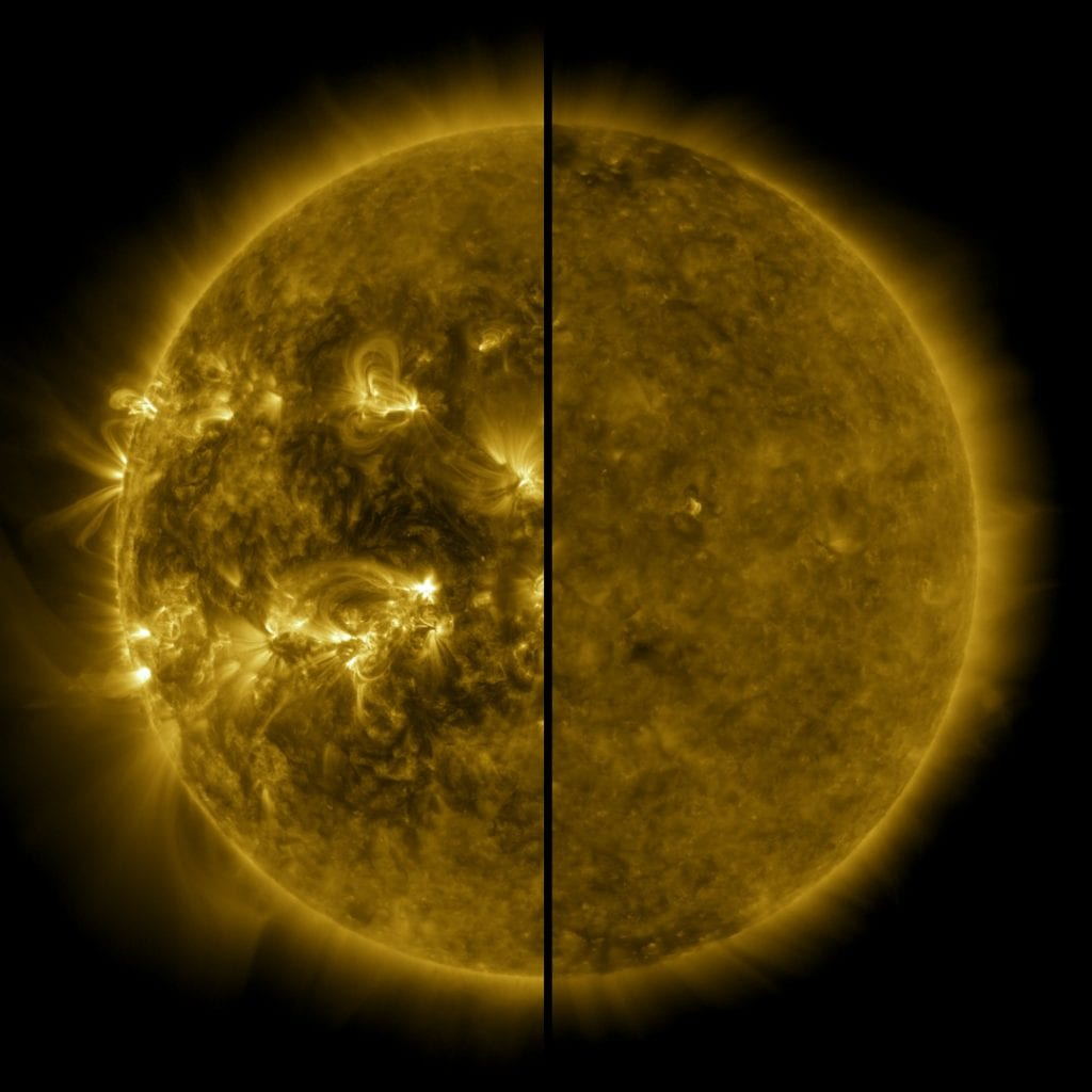 The sun is at its maximum in April 2014 (left) and at its minimum in December 2019. Credit: NASA / SDO