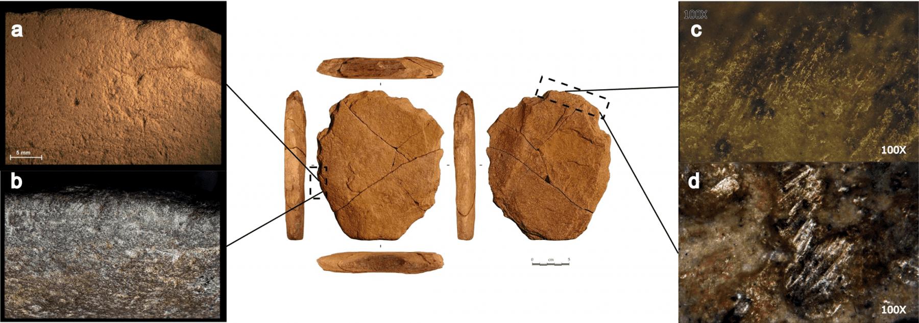 Traceological analysis of the stone artifact. Credit: Eric Boëda