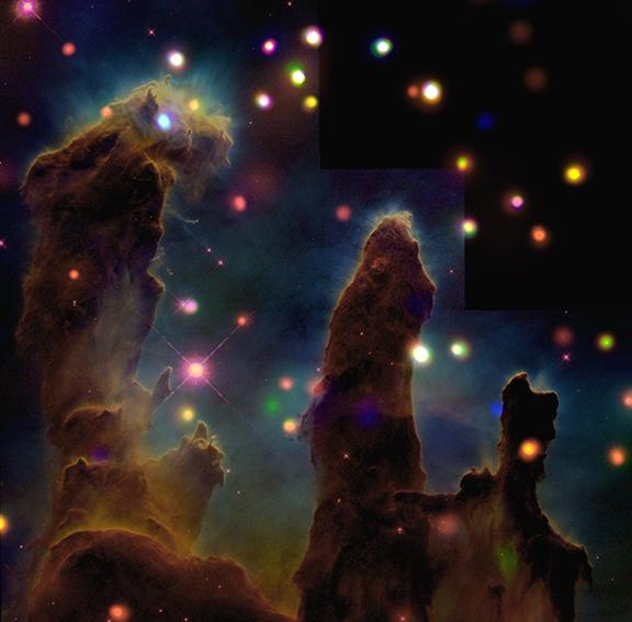 "Image of the famous ""Pillars of Creation"" made with the help of Chandra. Credit: X-ray: NASA/CXC/U.Colorado/Linsky et al.; Optical: NASA/ESA/STScI/ASU/J.Hester & P.Scowen."