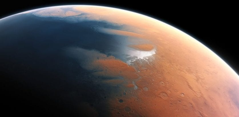 Artist's impression of Mars billions of years ago when it had water and microbes could have survived. Credit: ESO/M.Kornmesser