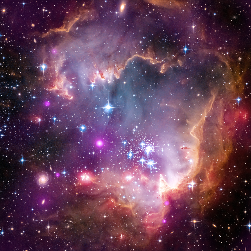 Composite image of a region of the Small Magellanic Cloud called NGC 602 made with X-Ray data from Chandra. Credit: X-ray: NASA/CXC/Univ.Potsdam/L.Oskinova et al; Optical: NASA/STScI; Infrared: NASA/JPL-Caltech