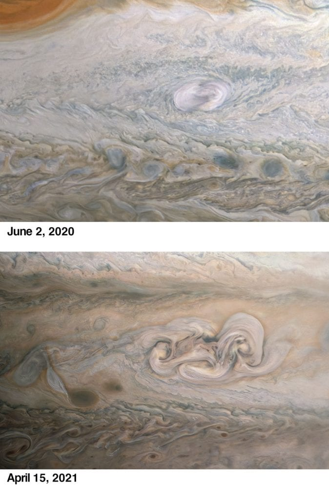 One of Juno's original images taken on June 2, last year and a comparison image from April this year showing the complete change of Clyde's Spot. Credit: NASA/JPL-Caltech/SwRI/MSSS/Kevin M. Gill