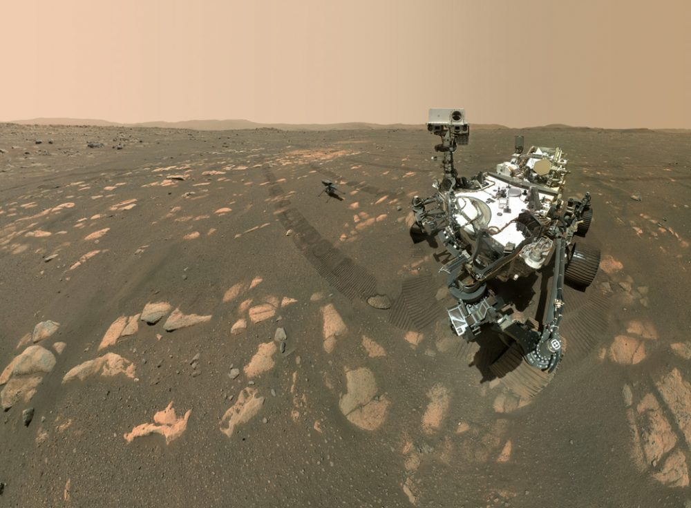 """The Perseverance rover took this """"selfie"""" with the Ingenuity Mars helicopter on April 6, 2021. Now, the Ingenuity mission has been extended until the end of August. Credit: NASA/JPL-Caltech/MSSS"""