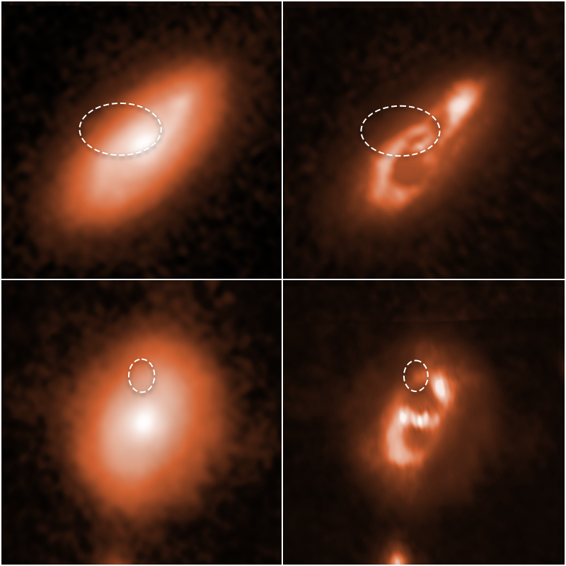 The images on the left show the entire galaxies captured by Hubble. On the right, you see enhanced images of the spiral structures and the exact sources of the fast radio bursts studied with Hubble. Credit: SCIENCE: NASA, ESA, Alexandra Mannings (UC Santa Cruz), Wen-fai Fong (Northwestern) IMAGE PROCESSING: Alyssa Pagan (STScI)