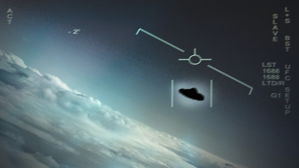 The USS Nimitz UFO that reportedly hovered over an underwater disturbance in the ocean. Some believe that there was either another mysterious object or an underwater base where UFOs come from. Credit: US Navy