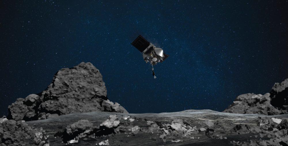 Artist's impression of NASA's Osiris-Rex spacecraft above the asteroid Bennu. Credit: NASA/Goddard/University of Arizona