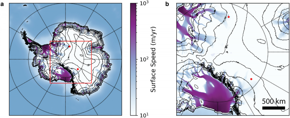 A map of antarctica showing the locations of the two anomalies. Credit: Ian Shoemaker
