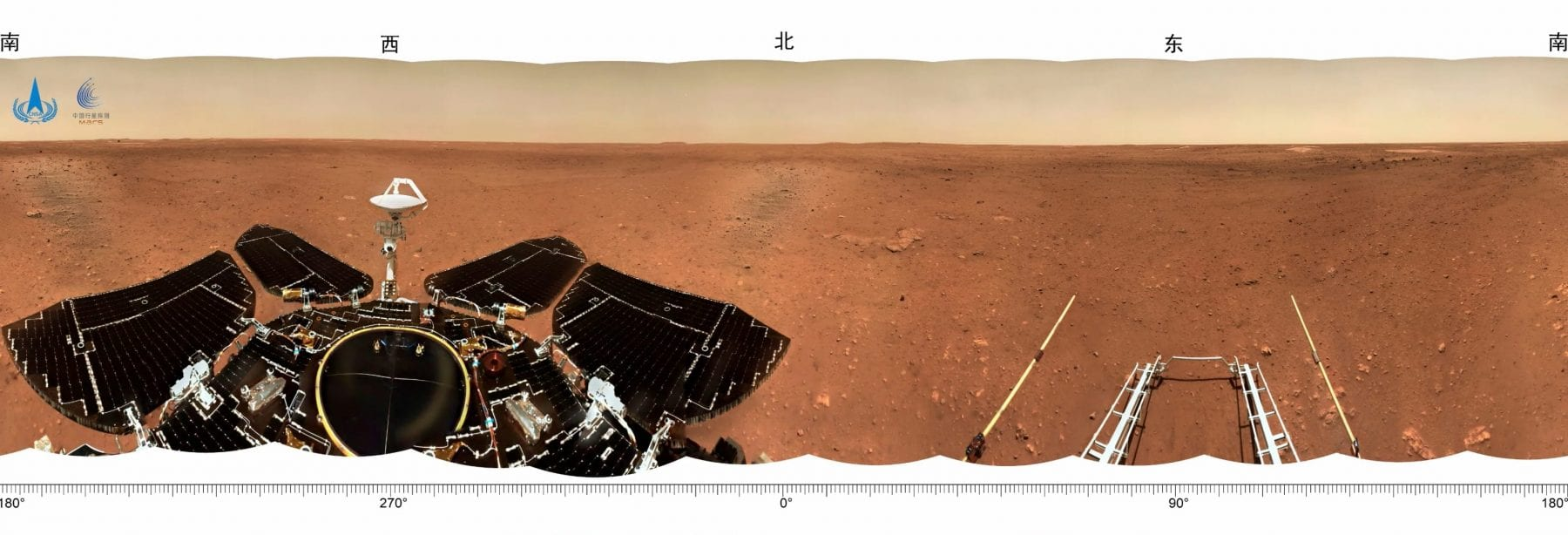 Another fascinating panorama from the surface of Mars showing parts of China's Zhurong rover as well as the landing platform. Credit: CNSA