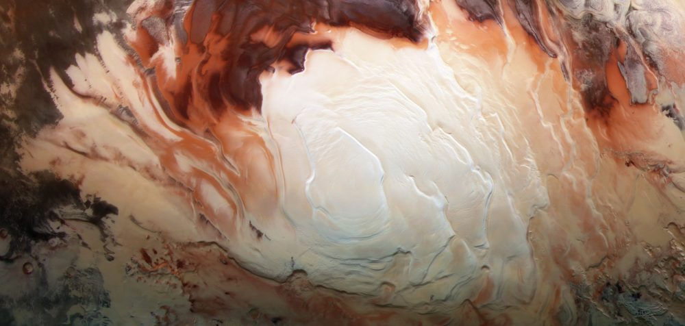 The icy cap of Mars' south pole, which could be hiding incredible amounts of underground water. Credit: ESA/DLR/FU Berlin/Bill Dunford