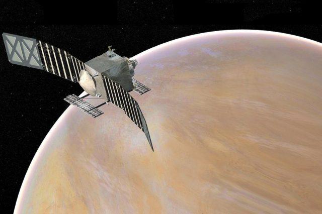 Concept art for the VERITAS automatic Venus station. Credit: NASA / JPL-Caltech