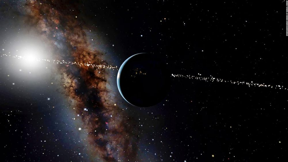 Artist's impression of how aliens could be seeing Earth and the Sun from a distant star system. Credit: OpenSpace / American Museum of Natural History