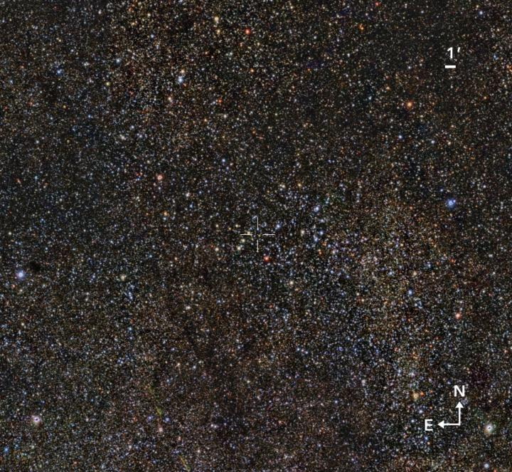 This is definitely not the perfect image of the sky but it shows the region in which the newly-found massive star cluster Valparaiso 1 is located. Credit: Gabriel Pérez Díaz, SMM (IAC).
