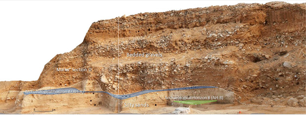 The different stratigraphic layers of the Boker-Takhtit site where humans and Neanderthals lived together. Credit: Boaretto et al. / PNAS, 2021