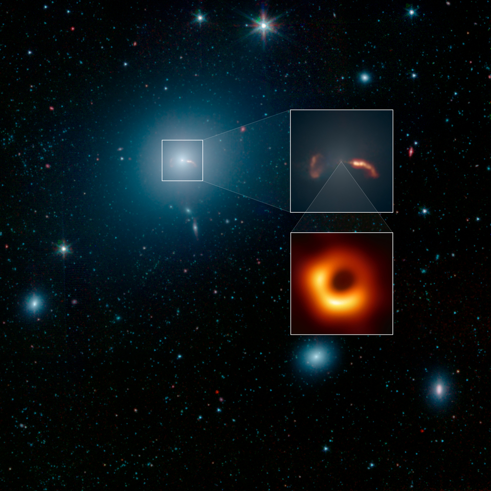 EHT close-up of the central region of Galaxy M87 and the shadow of the black hole. Credit: NASA / JPL-Caltech / IPAC