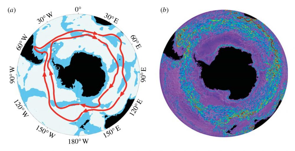 The Antarctic Circumpolar Current which is the only current on Earth that goes and closes in a cicumpolar loop. Credit: Enviromnemtal Science & Engineering Physical Oceanography at Caltech