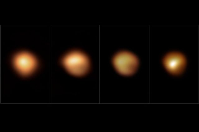 """Images of Betelgeuse from different months during its """"Great Dimming"""". Credit: M. Montargès et al. / ESO"""