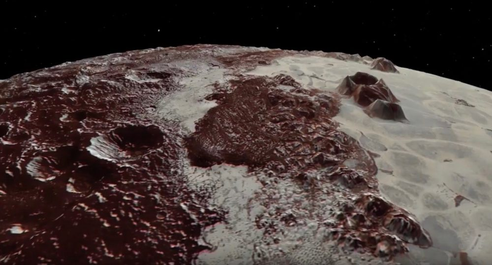 View of Pluto's fascinating surface taken from an old video by NASA with footage from New Horizons. Credit: NASA/JHUAPL/SwRI/Paul Schenk and John Blackwell, Lunar and Planetary Institute