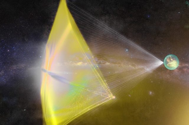 Artist's impression of the laser-powered sailcraft that could once day be sent to Alpha Centauri. Credit: Breakthrough Initiatives