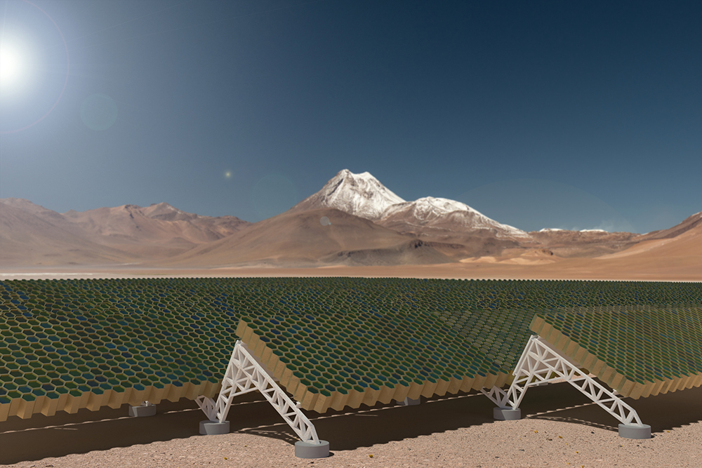 Artist's impression of the ground-based laser-system that will accelerate the craft towards Alpha Centauri. Credit: Breakthrough Initiatives