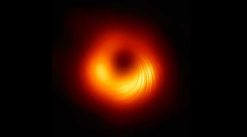 The latest version of the original image of the supermassive black hole M87 in polarized light. Credit: EHT Collaboration
