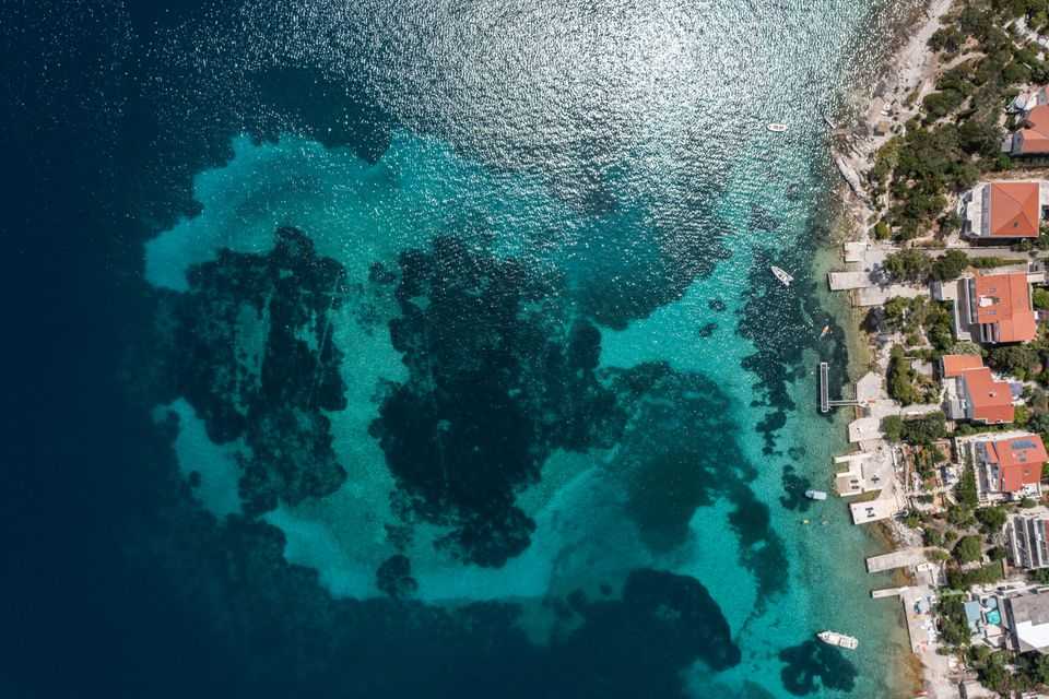 Aerial view of the millennia-old Neolithic settlement in Croatia, submerged just meters from the coast of Lumbarda. Credit: Reuters/Antonio Bronic