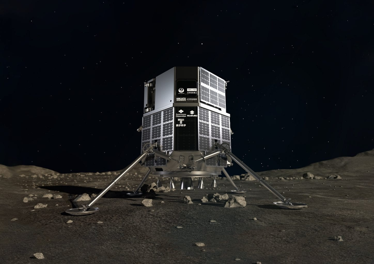 Artist's impression of the HAKUTO-R moon lander which is scheduled for launch in 2022. It will be the debut launch of the private Japanese company ispace Inc. Credit: ispace