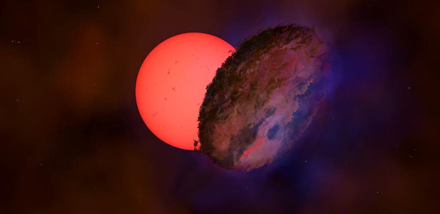 """Artist's impression of star VVV-WIT-08, the """"blinking giant"""", which could result in being an absolutely new type of star. Credit: Amanda Smith/University of Cambridge"""