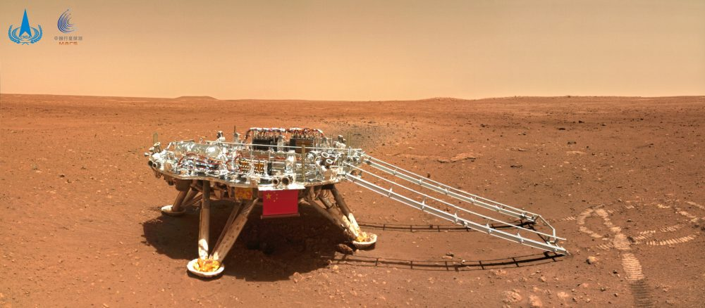 """Photo of the stationary lander and the rover """"Zhurong"""", taken by a small module near them. Photo credit: CNSA"""