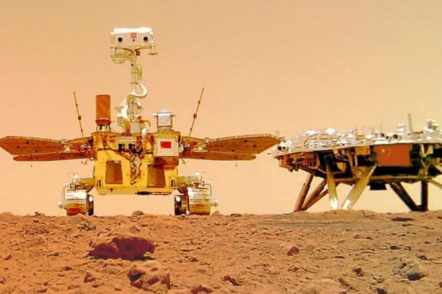 Selfie of the Zhurong rover and lander on Mars. CNSA has released two video compilations displaying the landing of the Chinese mission as well as sound recordings from Mars. Credit: CNSA