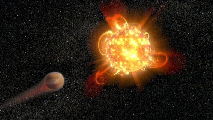The gas outbursts from young red dwarf stars could be the reason why planets in orbit are completely inhabitable. Credit: NASA / ESA / D. Player (STScl)